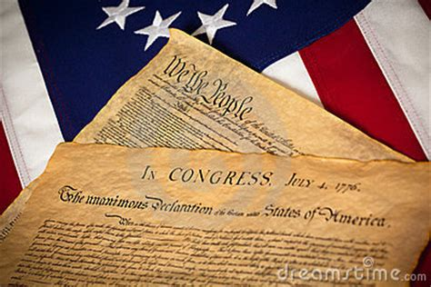 Constitution & Declaration Of Independence On Flag Stock